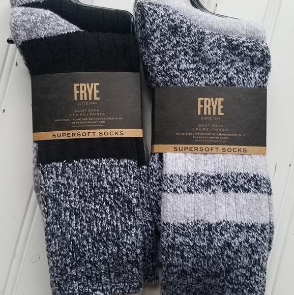 NWT Frye Boot Socks Super Soft Gray Black Striped